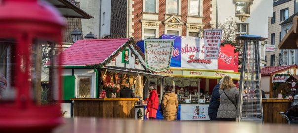 Blick auf den Weihnachtsmarkt in Hilden